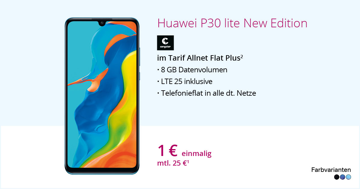 Huawei P30 Lite New Edition Mit Congstar Allnet Flat Plus