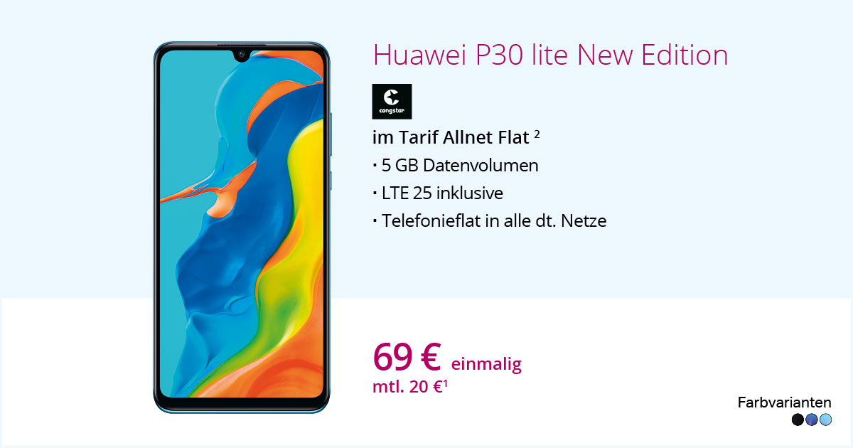 Huawei P30 Lite New Edition Mit Congstar Allnet Flat