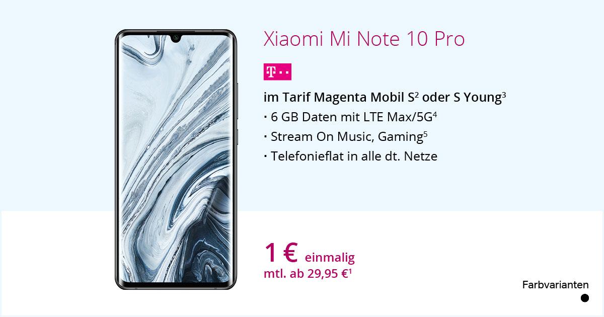 Xiaomi Mi Note 10 Pro Im MagentaMobil S Mit Smartphone