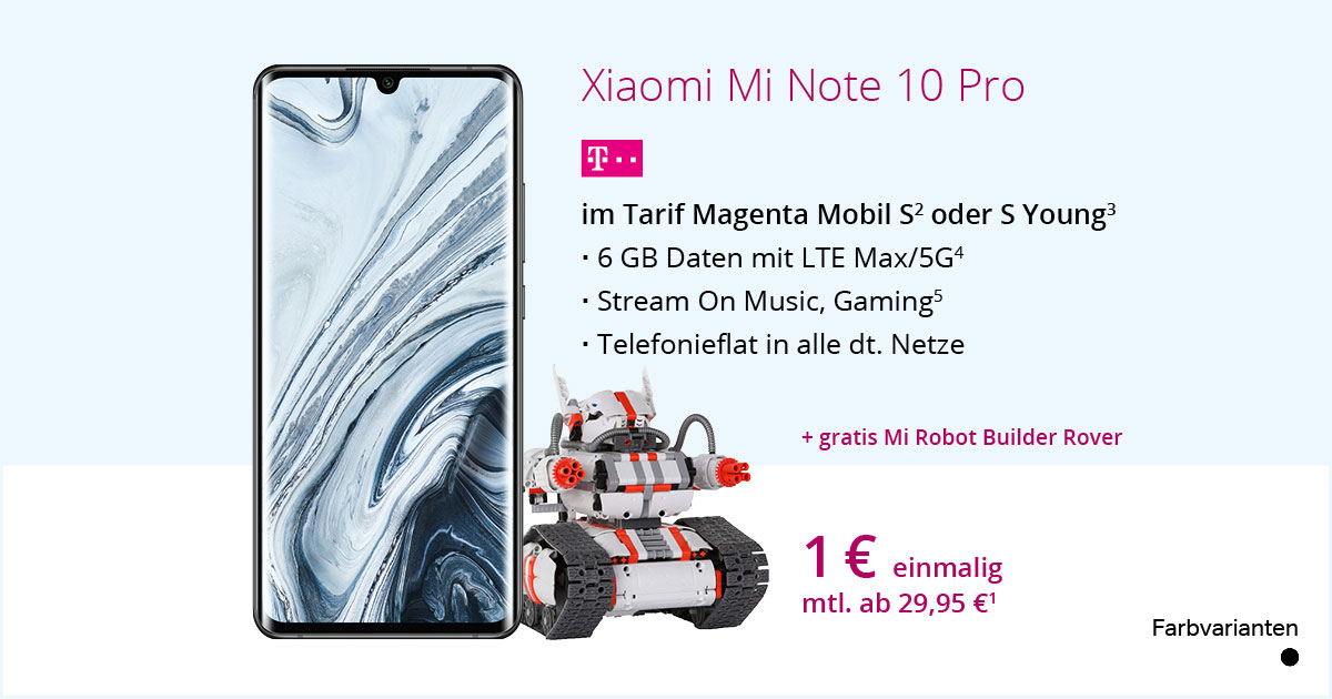 Xiaomi Mi Note 10 Pro Mit Tarif MagentaMobil S Plus Gratis Robot Builder