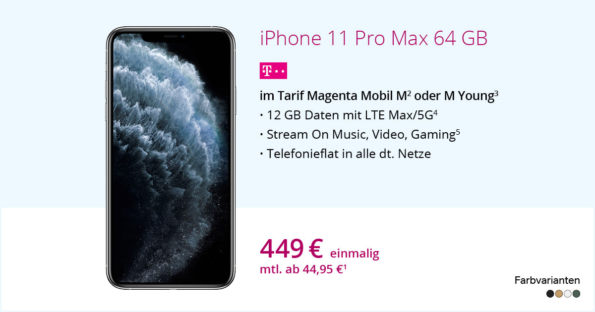 Apple IPhone 11 Pro Max 64 GB Mit MagentaMobil M