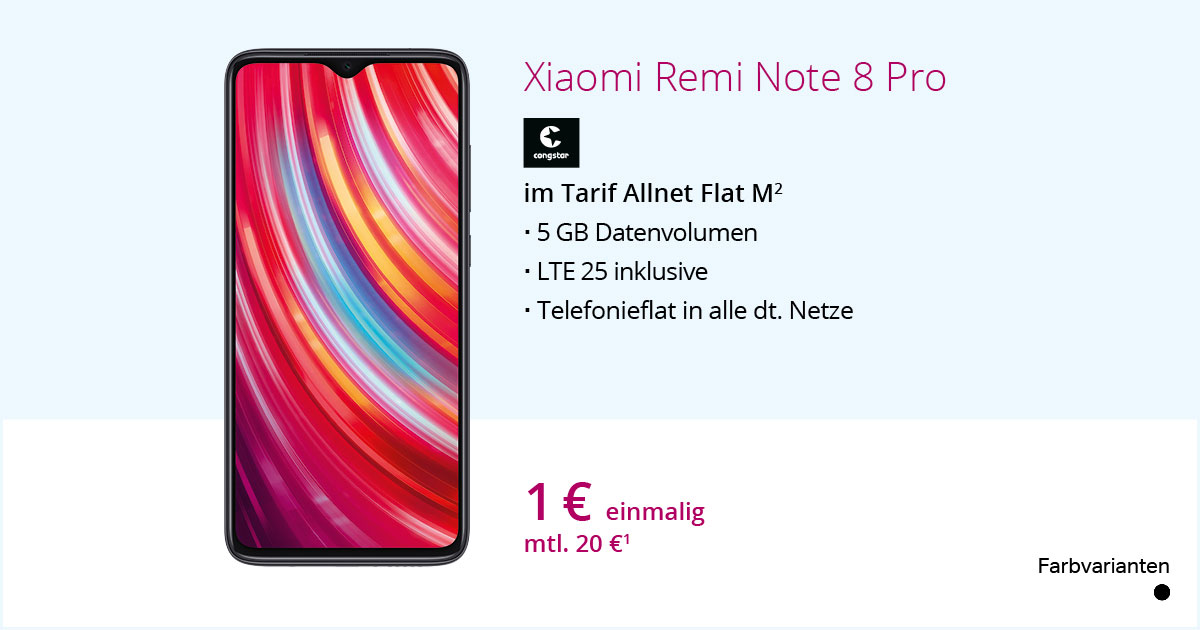 Xiaomi Redmi Note 8 Pro Mit Congstar Allnet Flat M