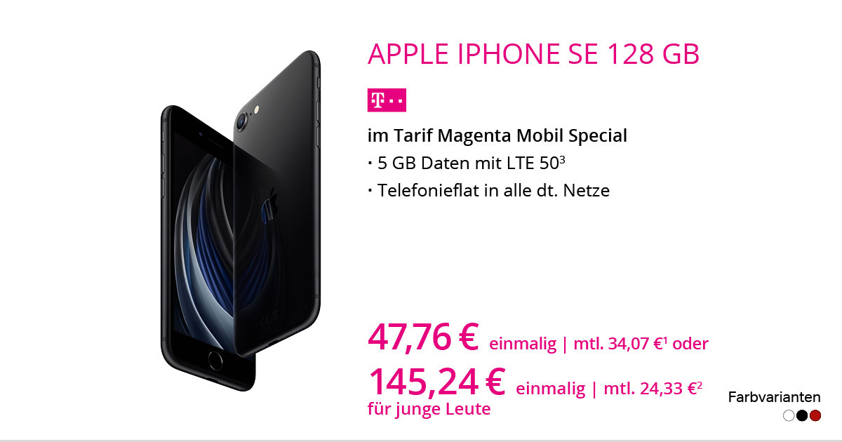 Apple IPhone SE 2020 128 GB Im Tarif MagentaMobil Special