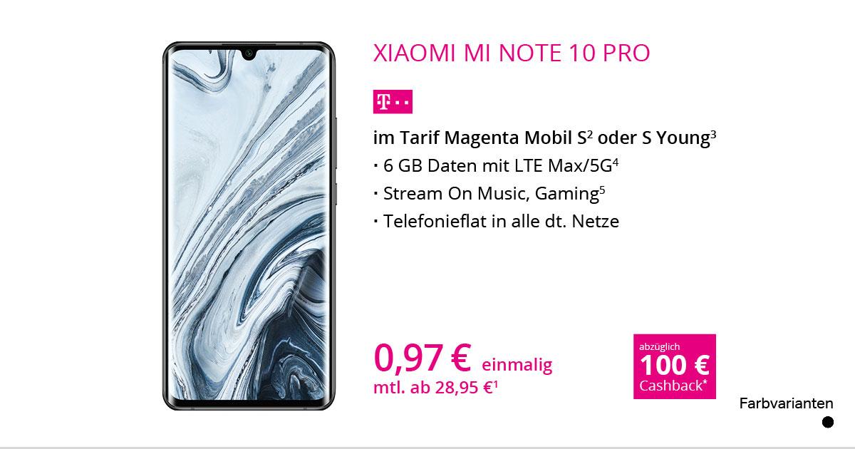 Xiaomi Mi Note 10 Pro Mit MagentaMobil S