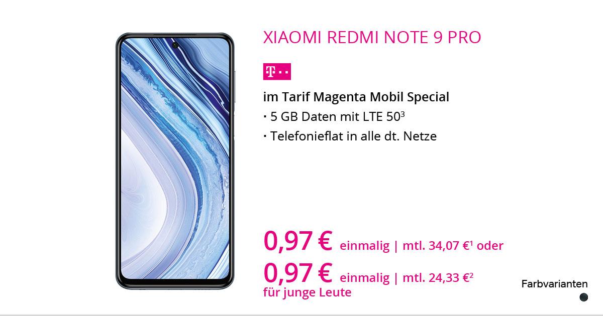 Xiaomi Redmi Note 9 Pro Mit MagentaMobil Special