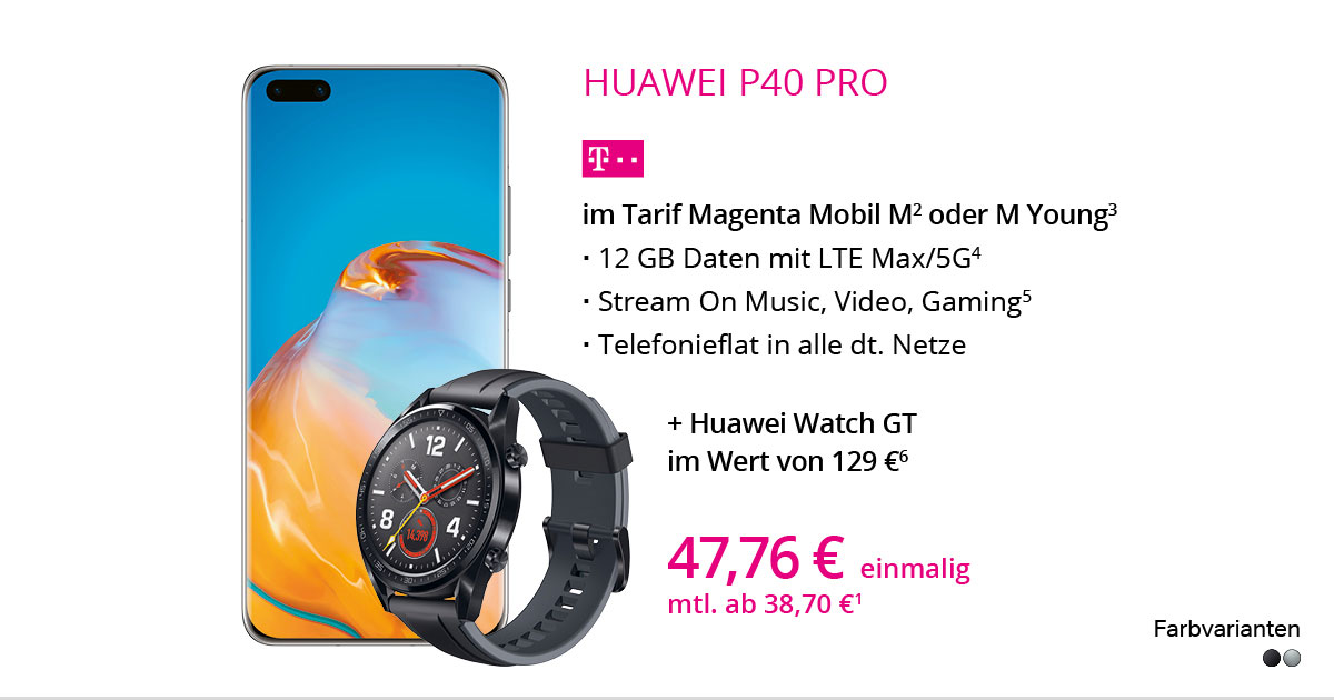 Huawei P40 Pro Mit MagentaMobil M + Huawei Watch GT Gratis