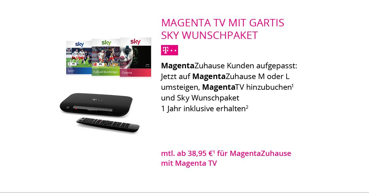 MagentaTV Mit Gratis Sky Wunschpaket