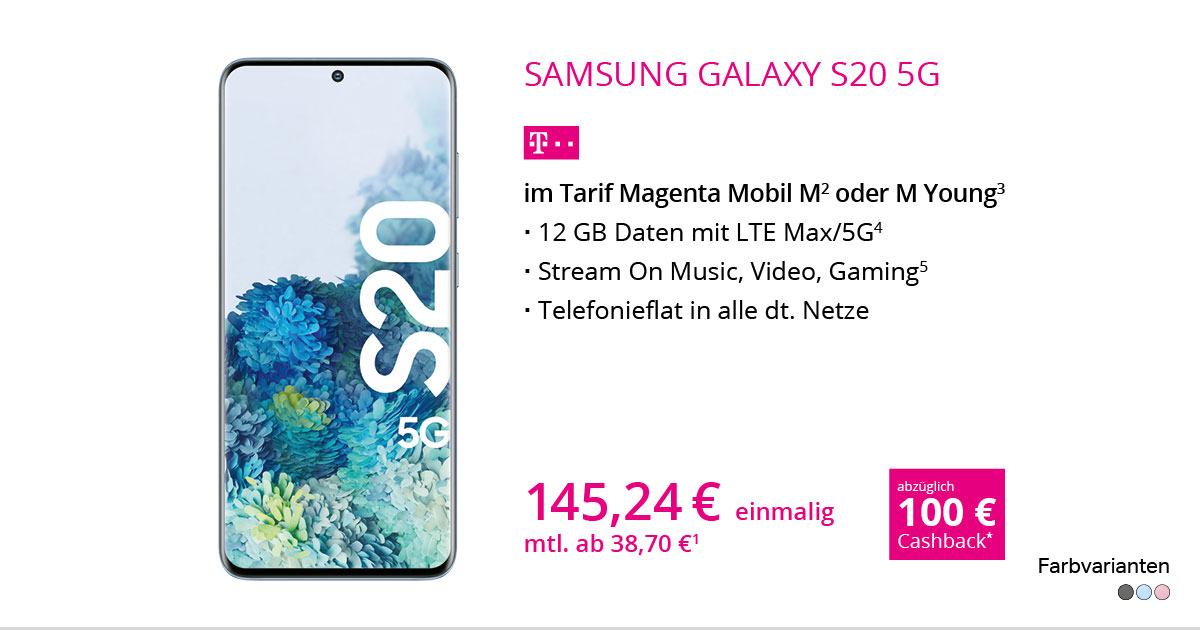 Samsung Galaxy S20 5G Mit MagentaMobil M