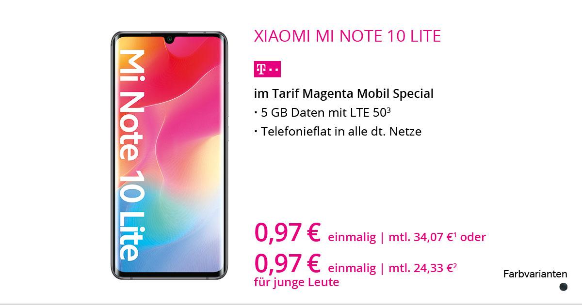 Xiaomi Mi Note 10 Lite Mit MagentaMobil Special