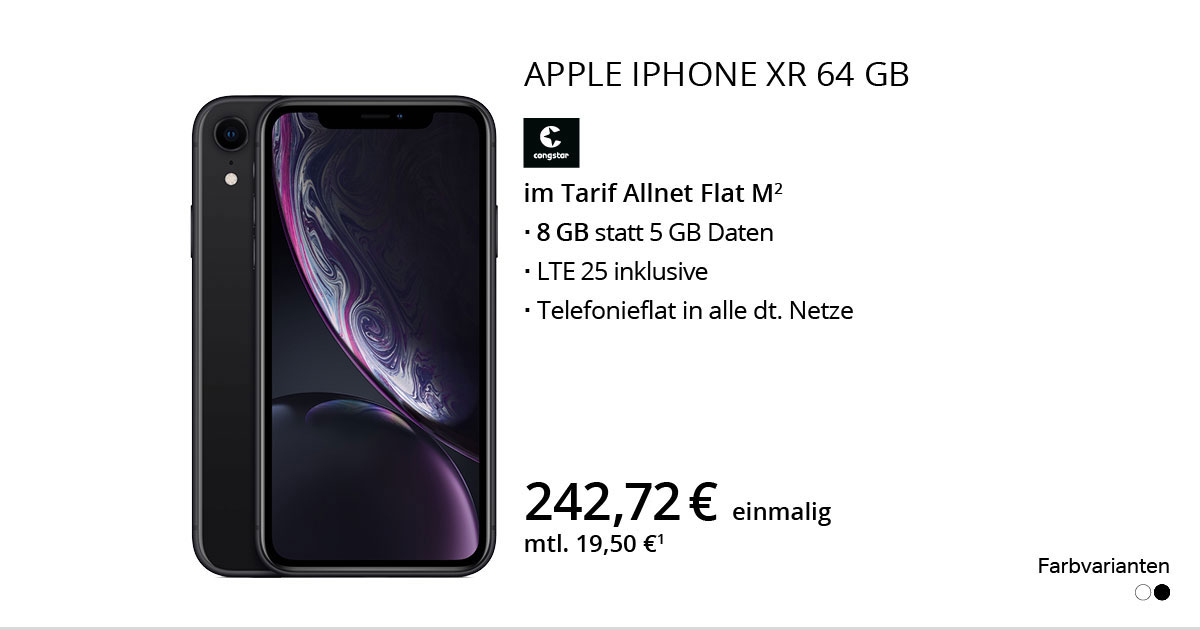 Apple IPhone Xr 64 GB Mit Congstar Allnet Flat M + Daten Deal