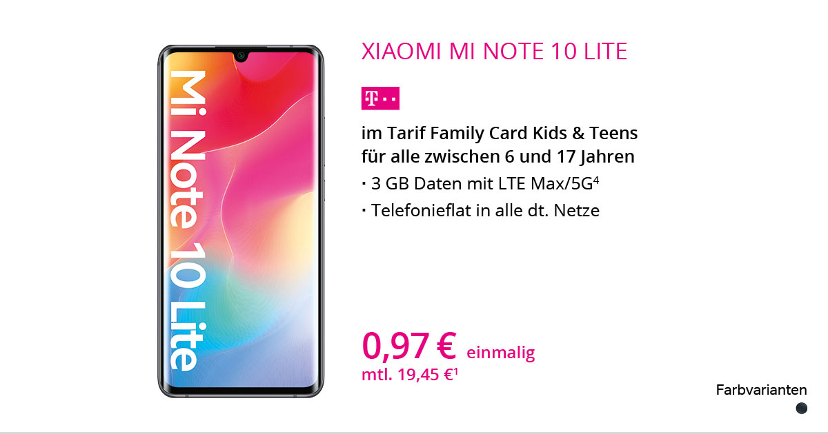 Xiaomi Mi Note 10 Lite Mit Family Card Kids & Teens