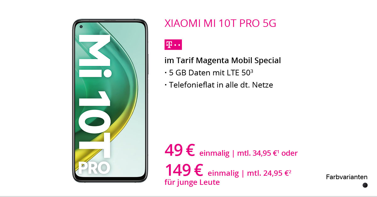 Xiaomi Mi 10T Pro Mit MagentaMobil Special