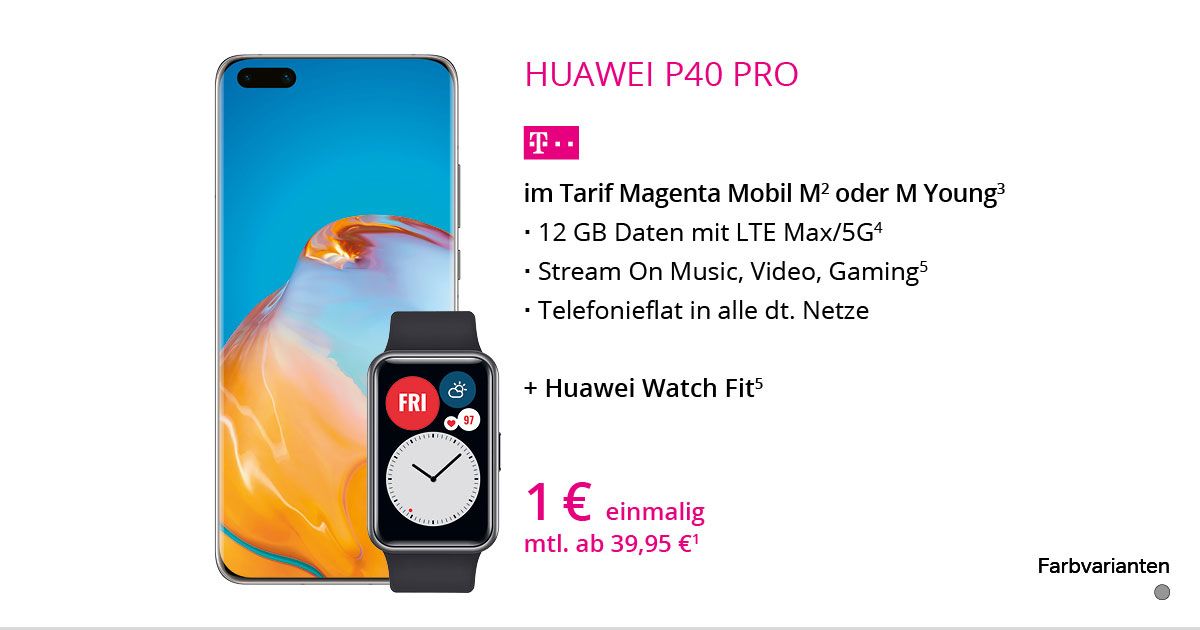 Huawei P40 Pro + Watch Fit Mit MagentaMobil M