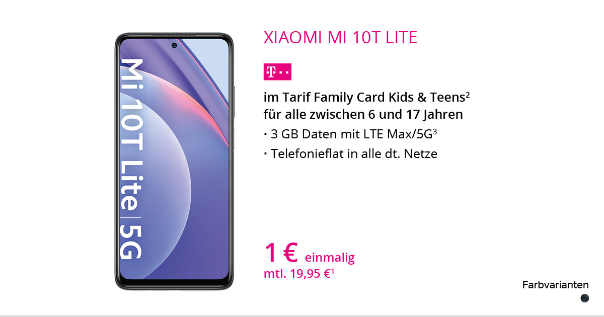 Xiaomi Mi 10T Lite Mit Family Card Kids & Teens