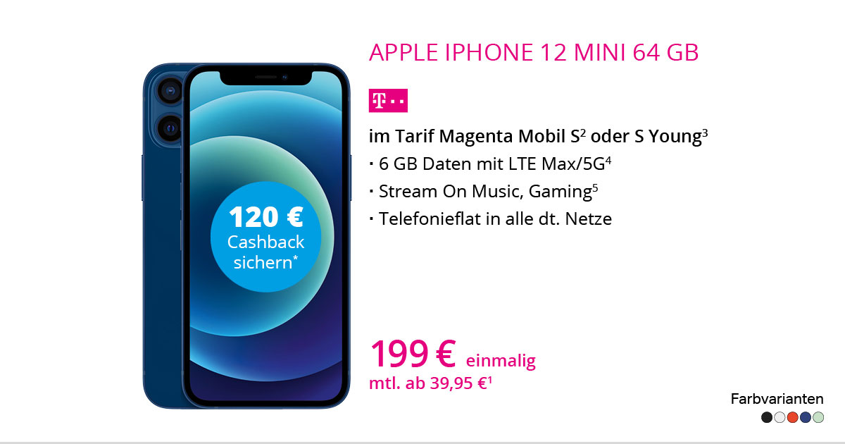 Apple IPhone 12 Mini 64 GB Mit MagentaMobil S