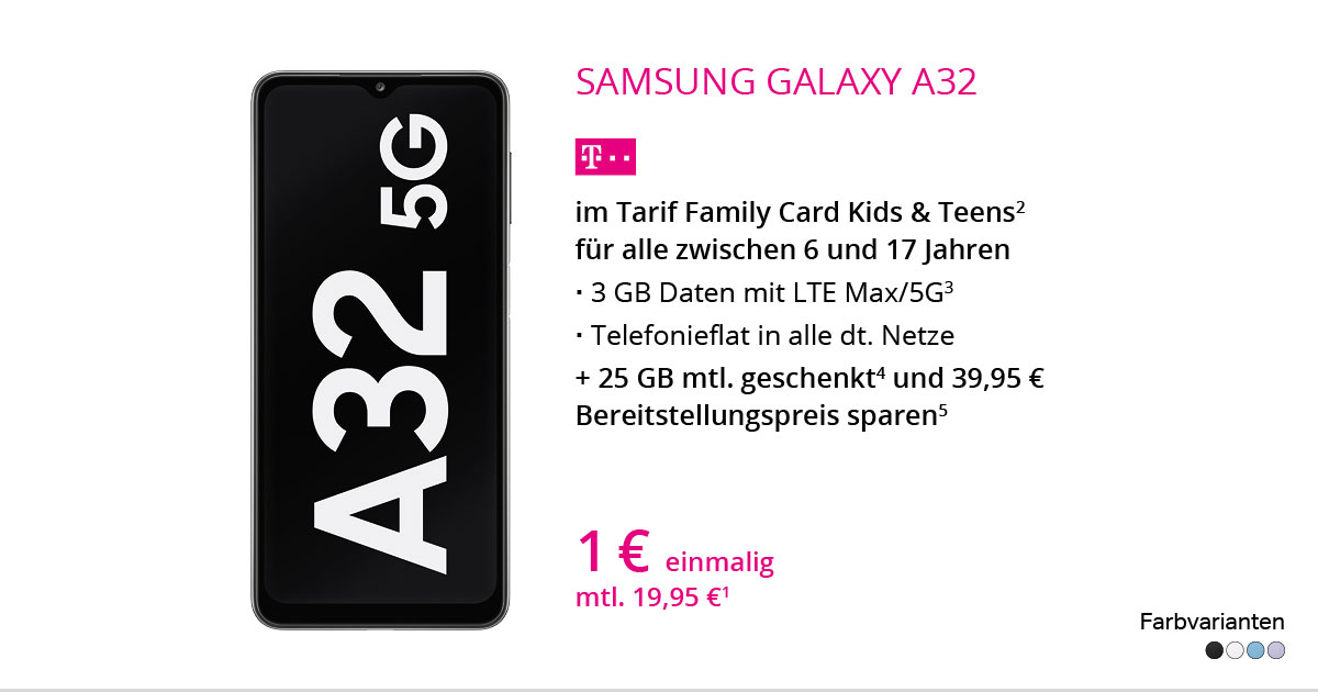 Samsung Galaxy A32 Mit Family Card Kids & Teens