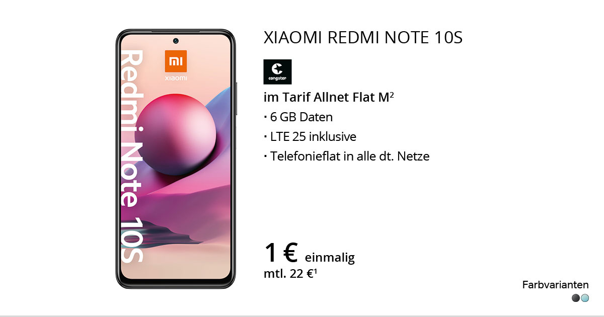 Xiaomi Redmi Note 10S Mit Congstar Allnet Flat M